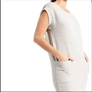 athleta gray and white striped ease up dress